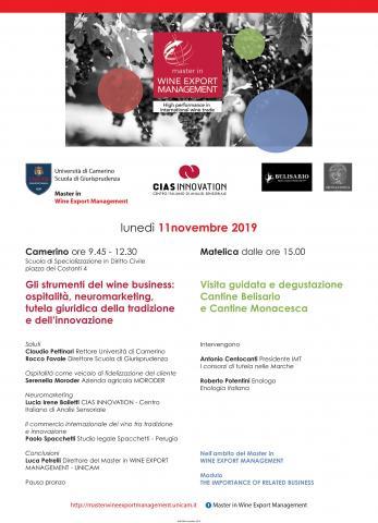 Convegno e Workshop 11/11/2019 -  UNICAM   CANTINE BELISARIO e MONACESCA